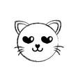 figure enamored cat head cute animal vector image vector image
