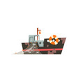 fishing boat with net industrial trawler for vector image vector image