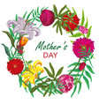 floral round frame card design mother day vector image