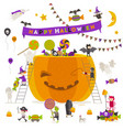 halloween group active halloween characters around vector image vector image