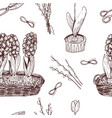 hand drawn ink vintage spring flowers pattern vector image