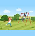 happy children ride swing active preschool kids vector image