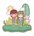 happy little kids reading books in the landscape vector image vector image