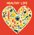 Healthy Lifestyle Background in Heart shape - Illu vector image vector image