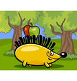 hedgehog with apple cartoon vector image