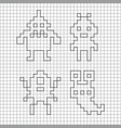 ink silhouette of pixel monsters vector image