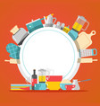 kitchen cookware dishes and appliances household vector image vector image