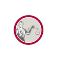 Lady Blindfolded Holding Scales Justice Circle vector image
