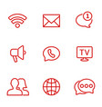 linear communication icons set universal vector image