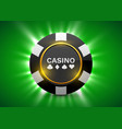online casino banner black poker chip gambling vector image