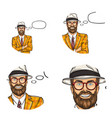 pop art avatar icon of handsome aged vector image