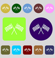 Race Flag Finish icon sign 12 colored buttons Flat vector image