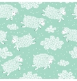 Seamless pattern with cute sheep and clouds vector image vector image