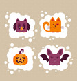 set halloween animals vector image vector image