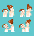 set of mother and daughter cleaning and care her vector image