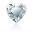 Shiny heart diamond with reflection vector image