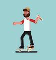 skater broke his board vector image