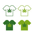 t-shirt set with cannabis leaf emblem t shirt vector image