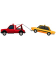 Tow truck pulling yellow taxi vector image vector image