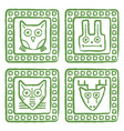 tribal style animal stamps set mayan ornamental vector image