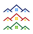 triple rooftop real estate logo symbol design vector image vector image