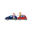 two cars involved in a car wreck auto insurance vector image vector image