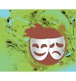 vintage theater masks emblem in color vector image vector image