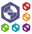 vinyl icons set hexagon vector image vector image