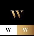 w letter logo gold letter identity vector image vector image