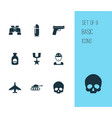 warfare icons set collection of aircraft panzer vector image vector image