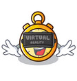with virtual reality chronometer character cartoon vector image vector image