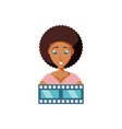 woman black with video tape isolated icon vector image vector image