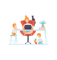young mother sitting at desk and working on laptop vector image vector image
