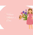 young pregnant woman with belly and flowers on vector image vector image
