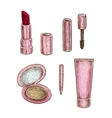 Collection of make up treatment objects vector image