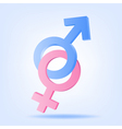 Pink and blue symbols of Mars and Venus vector image