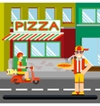 Nice food-deliveryboy with boxes of pizza vector image