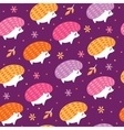 seamless pattern with funny hedgehogs vector image