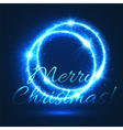 Christmas card of shining light circle with star vector image
