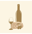 Wine cheese olives and glass vector image