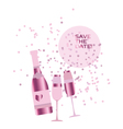 assorted sparkling wine glasses and bottles vector image vector image
