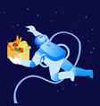 astronaut flying in space flat vector image vector image