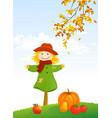 autumn scarecrow vertical scene vector image vector image
