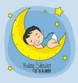 baby boy sleeping on top of the moon vector image