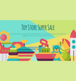 batoy shop banner in flat cartoon style kids vector image vector image