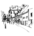 black and white ink hand drawing cetinje street vector image vector image