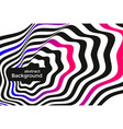 black and white lines optical illusion background vector image