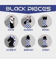 black chess pieces set vector image
