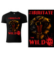black t-shirt with roaring tiger head vector image