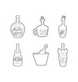 bottle of alcohol icon set outline style vector image
